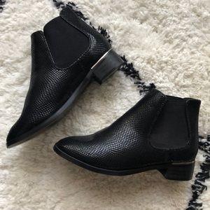 Black faux snakeskin Chelsea booties